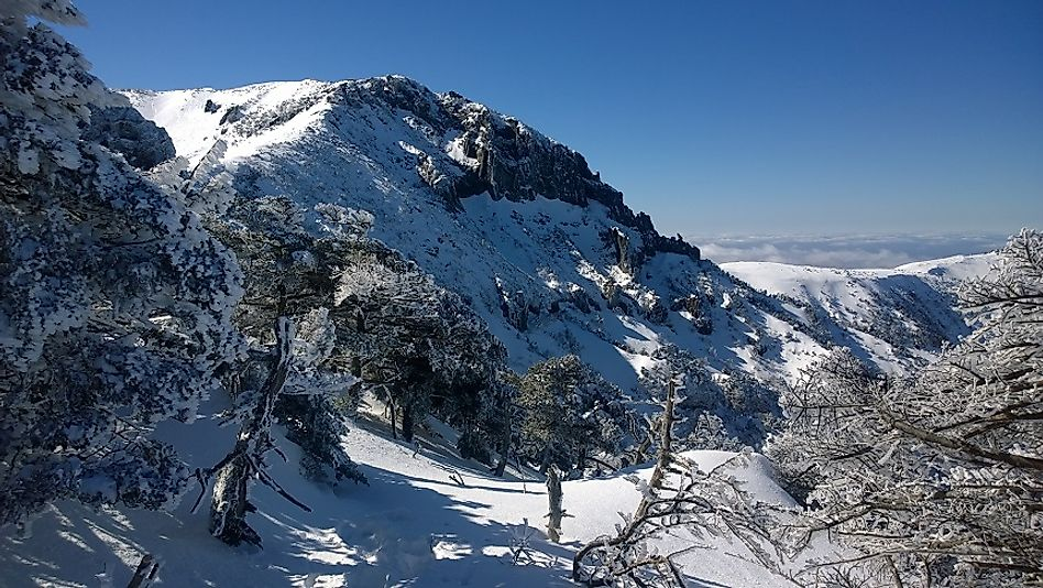 The snow-covered summit of Hallasan on Jeju Island.