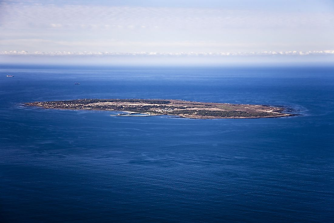 An aerial view of Robben Island in South Africa.