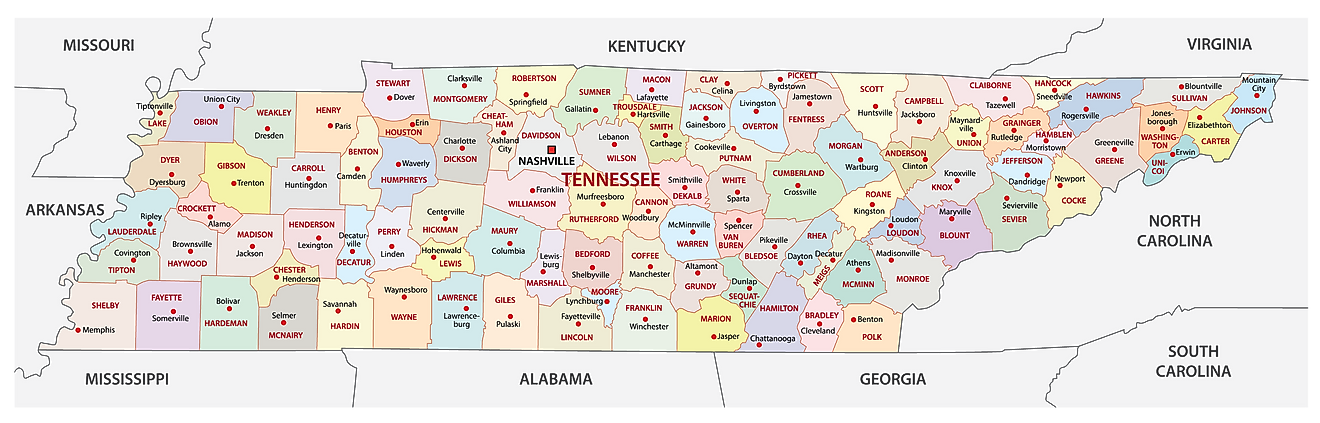 Administrative Map of Tennessee showing its 95 counties and the capital city - Nashville