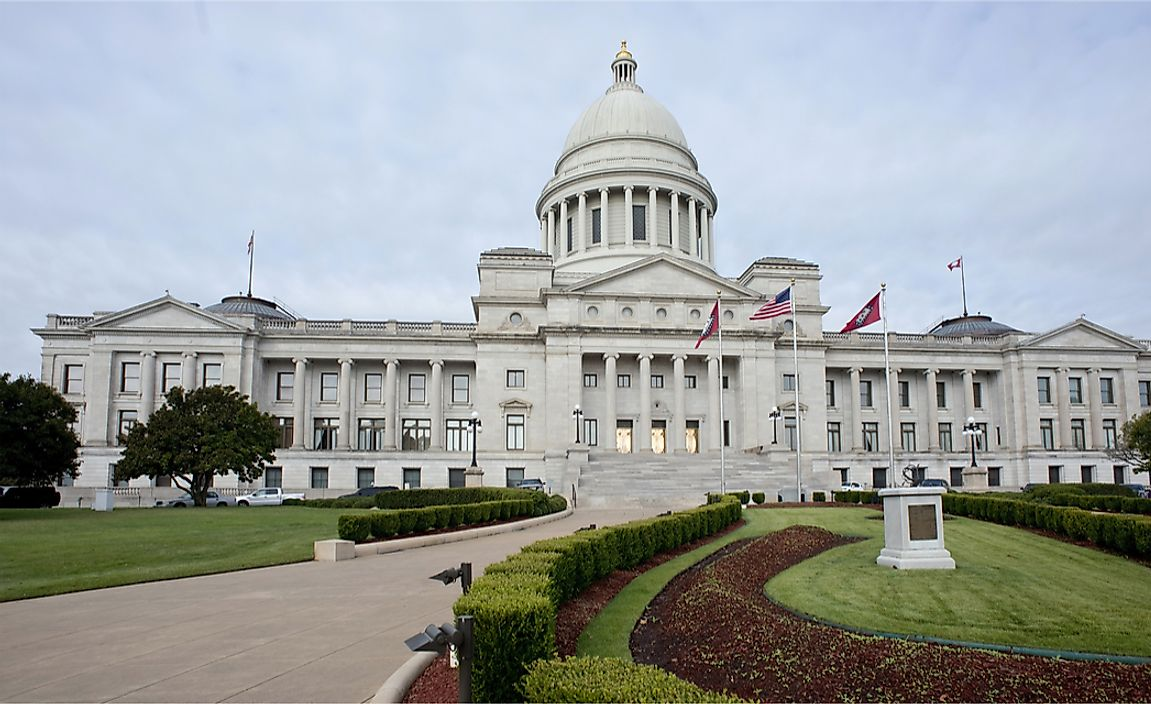 The State Capitol Building in Little Rock, Arkansas.