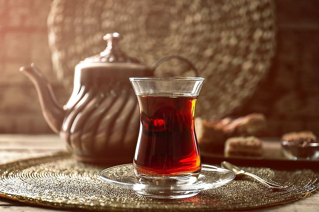A glass of tea served with baklava pastries is a common light meal in Turkish tea shops, cafes, and diners. The Turkish are the world's highest per capita tea drinkers.