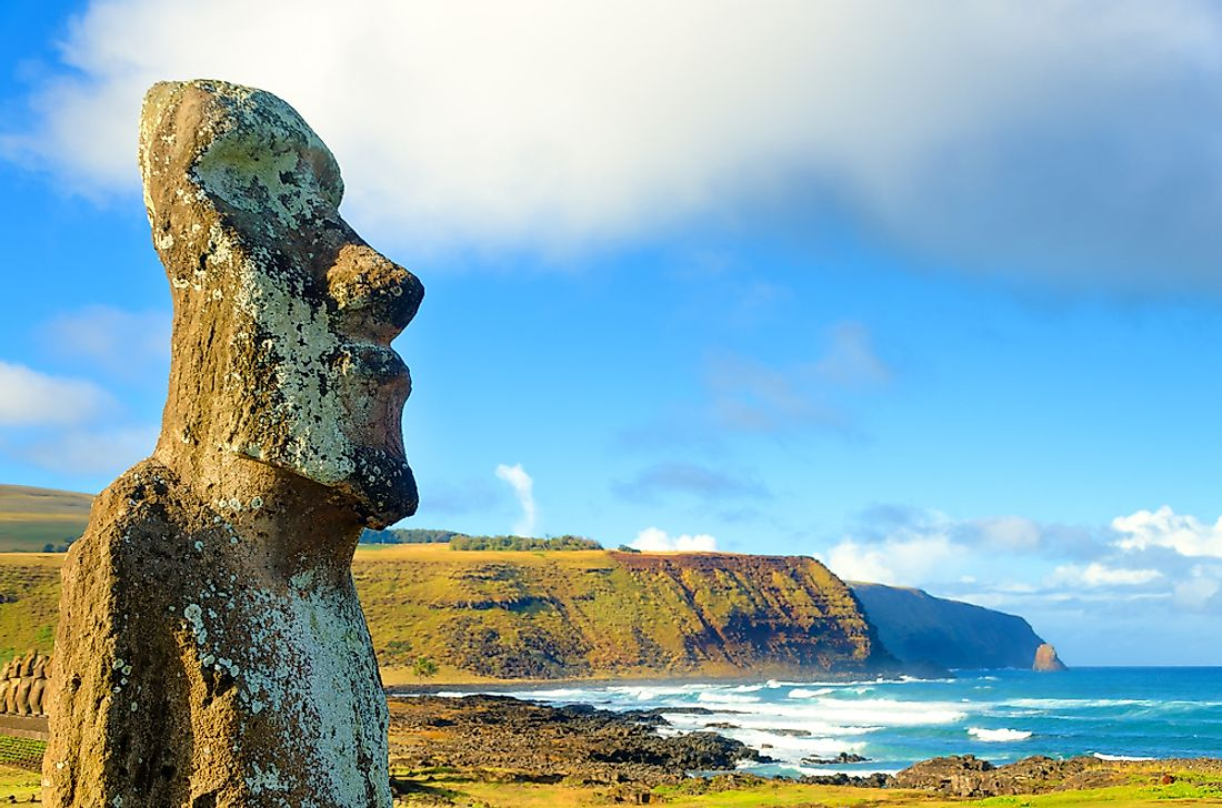 A famous Moai ai Ahu Tongariki on the remote Easter Island.
