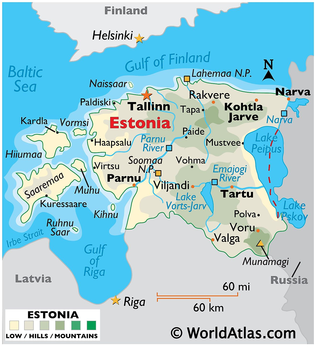 Physical Map of Estonia showing terrain, major rivers, extreme points, main islands, major lakes, important cities, international boundaries, etc.
