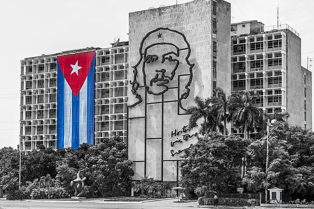 An art piece depicting Fidel Castro in Havana, Cuba.