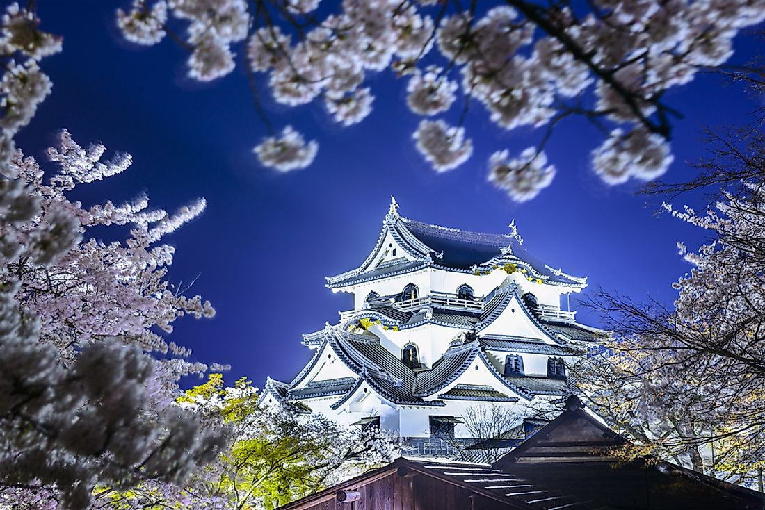Hikone Castle sits on the peak of Mt. Hikone overlooking Lake Biwa, the largest lake in Japan.