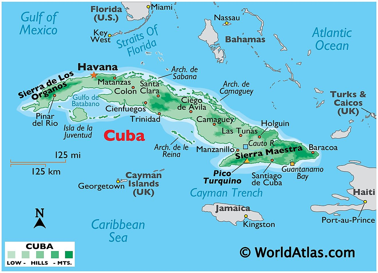 Physical Map of Cuba showing islands, relief, mountains, important settlements, surrounding water features, and more.