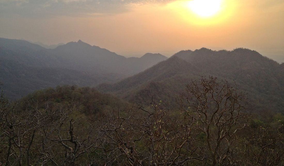 Sunset over the Vindhya Range near Dahod, India.