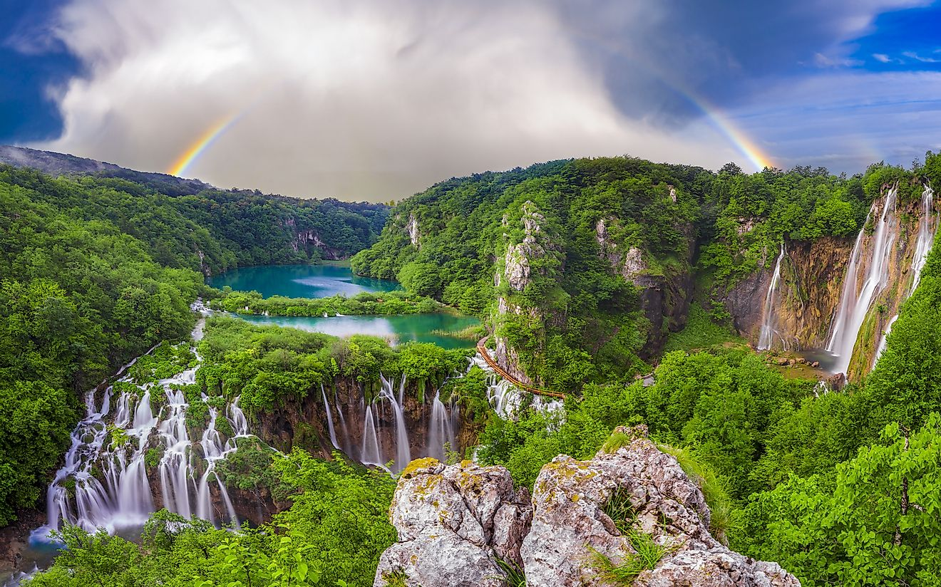 The multi-step waterfall in the Plitvice Lakes National Park in Croatia. Image credit: Mike Mareen/Shutterstock.com