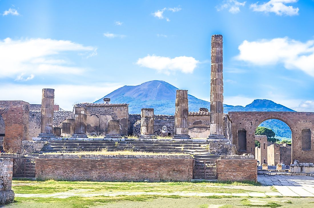 The ruins of Pompeii with Vesuvius in the background.