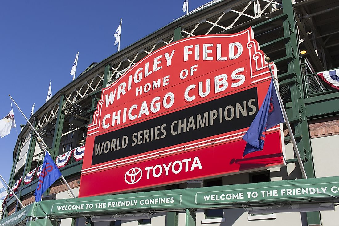 Wrigley Field is the home stadium of the Chicago Cubs. Editorial credit: Kathryn Seckman Kirsch / Shutterstock.com