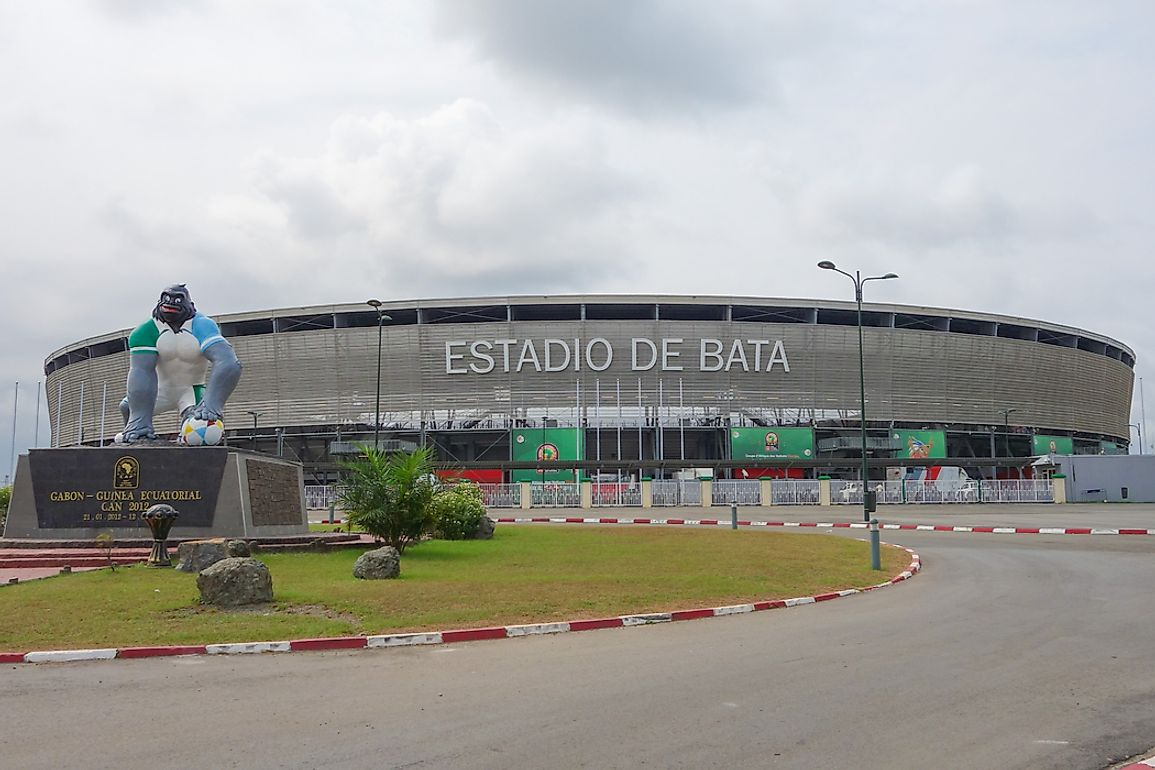 Estadio de Bata, Spanish for Bata Stadium. Equatoguinean Spanish is the largest language in Equatorial Guinea. Editorial credit: alarico / Shutterstock.com