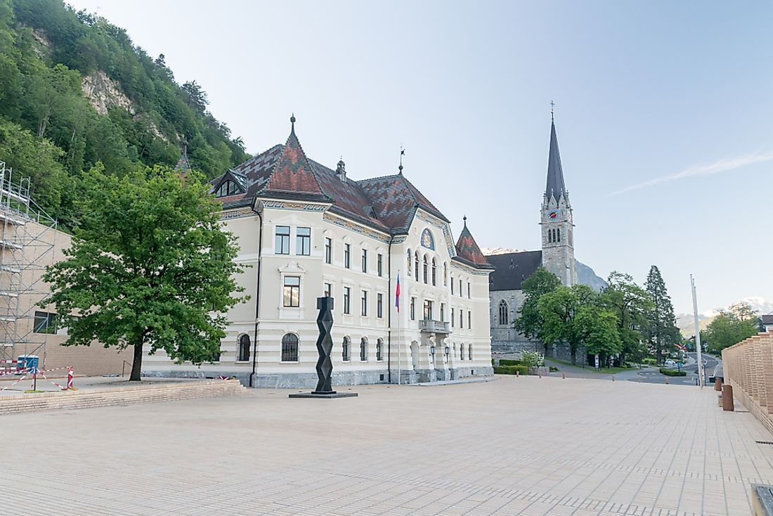 Government buildings in Lietchtenstein. Editorial credit: Robson90 / Shutterstock.com