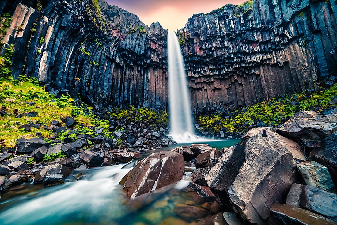 The Svartifoss waterfall in Skaftafell National Park, Iceland.
