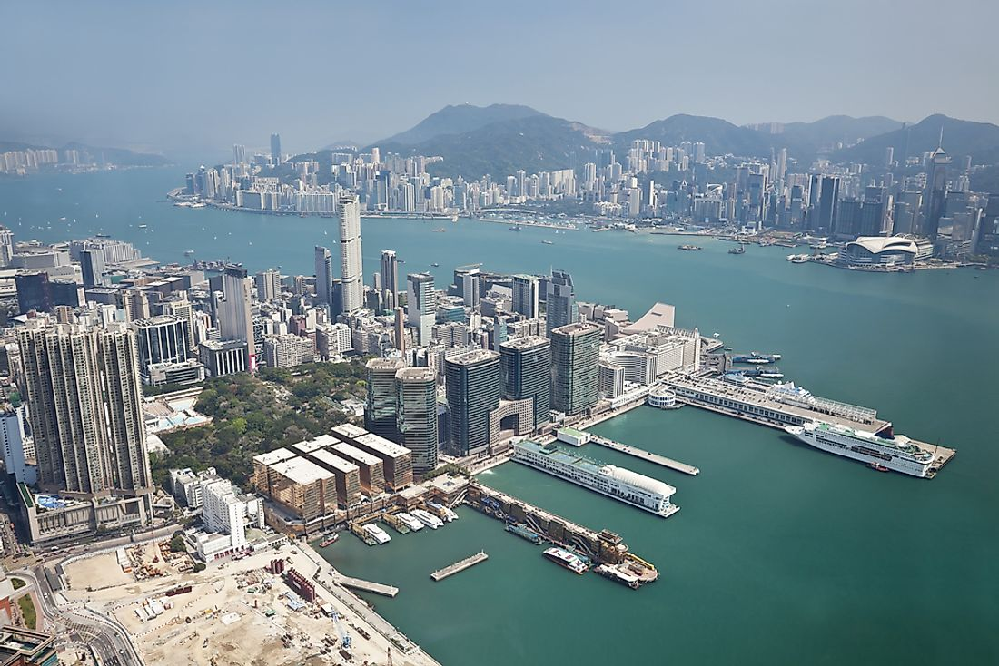 The Kowloon Peninsula in the foreground.
