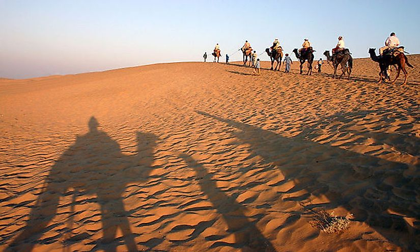 The Thar desert ecoregion is shared by both India and Pakistan.