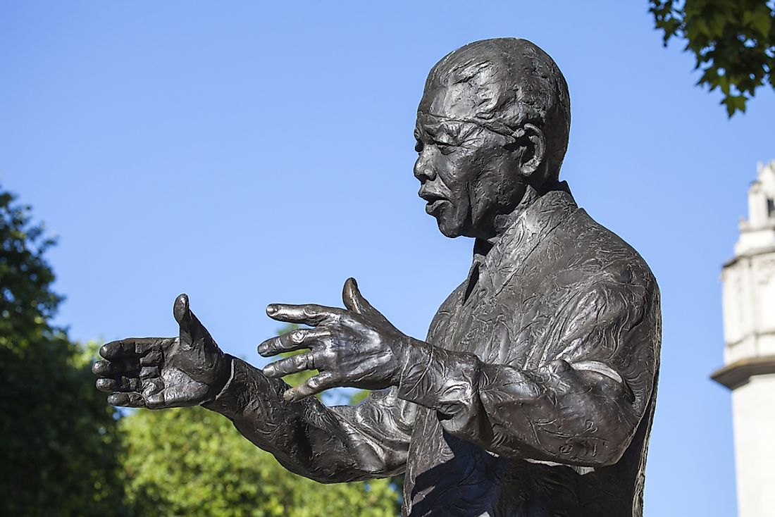A statue of Nelson Mandela sits at Parliament Square, London.