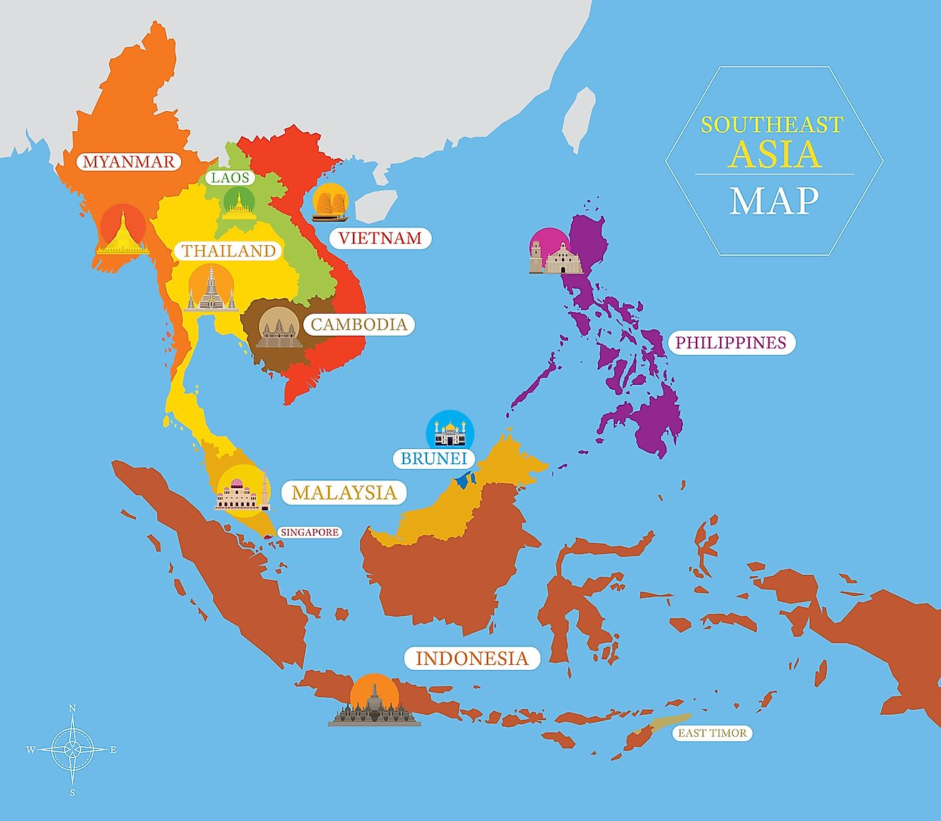 Map of Southeast Asia. Image credit: MuchMania/Shutterstock.com