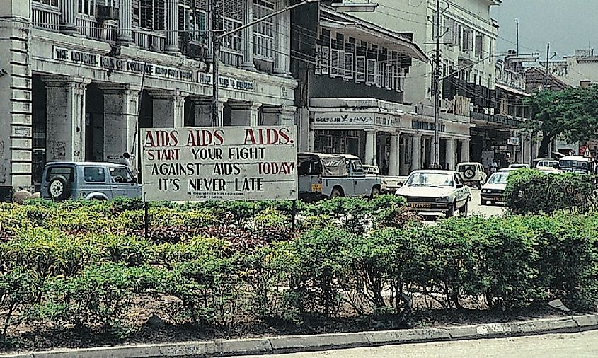 This sign in central Dar-es-Salaam, Tanzania's, reflects the huge concern about AIDS in Africa .