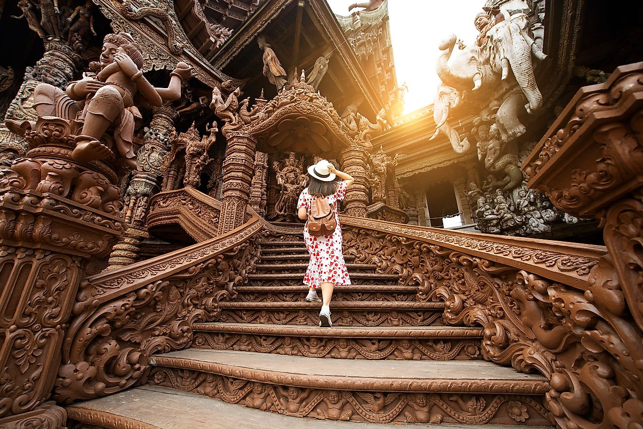 Tourist is traveling inside Sanctuary of truth in Pattaya, Thailand.