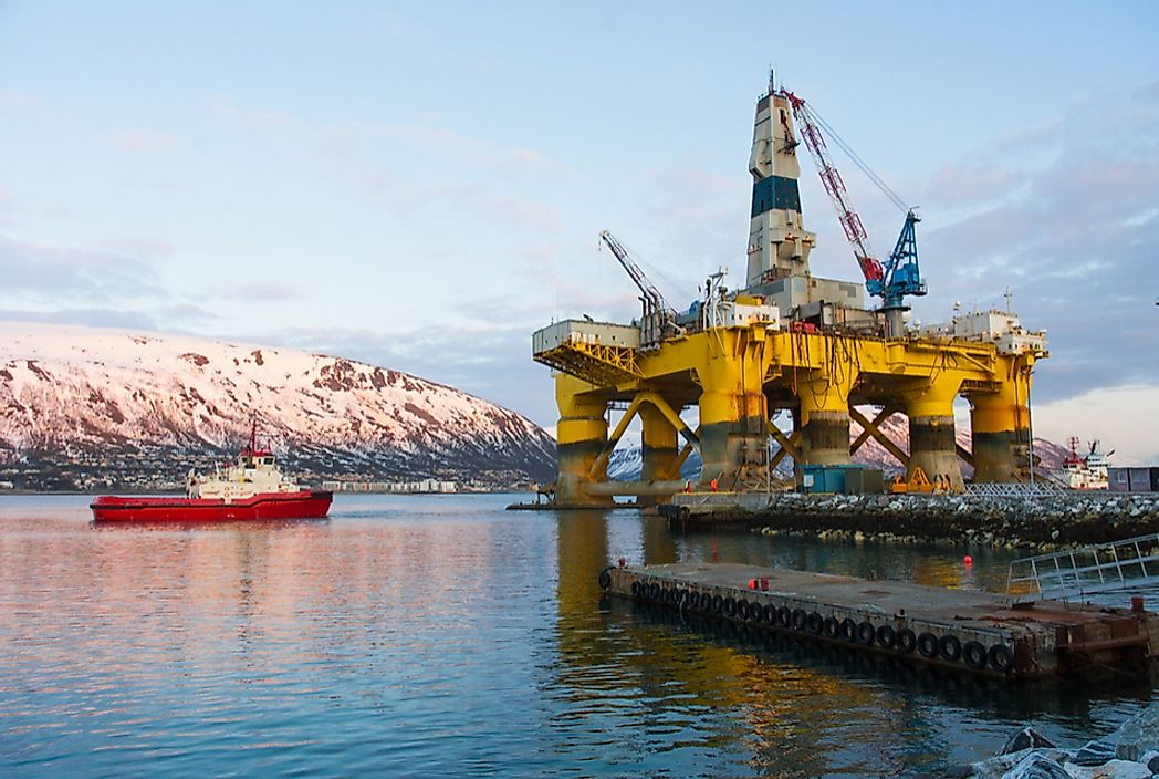 An oil platform in Tromsø, Norway. Oil is Norway's biggest export by a large percentage. Photo credit: shutterstock.com.
