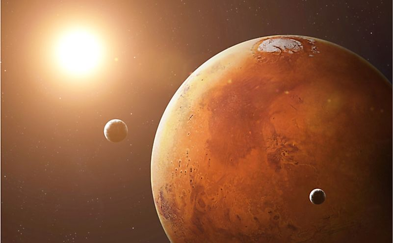 Mars and its moons. Elements of this image furnished by NASA.