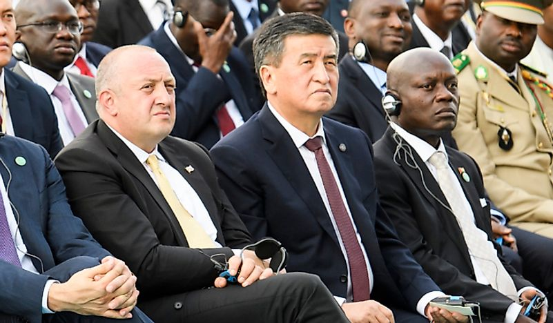 The current president, Sooronbay Jeenbekov, center. Editorial credit: paparazzza / Shutterstock.com.