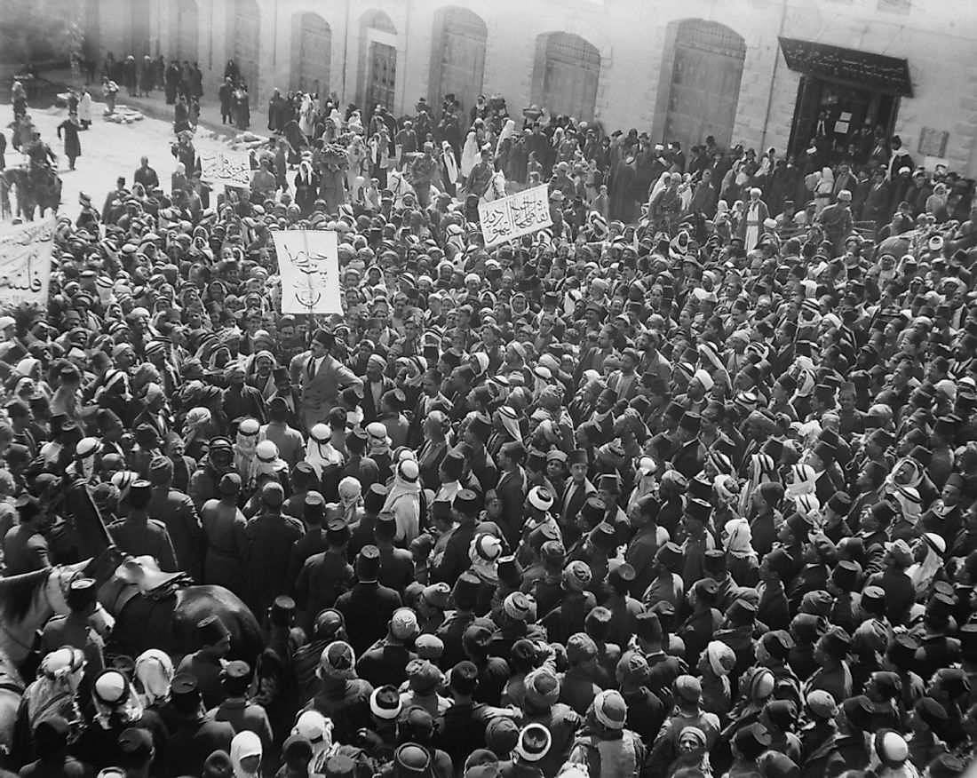 Arab Anti-Zionist demonstration outside the Damascus Gate in Jerusalem on March 8, 1920.
