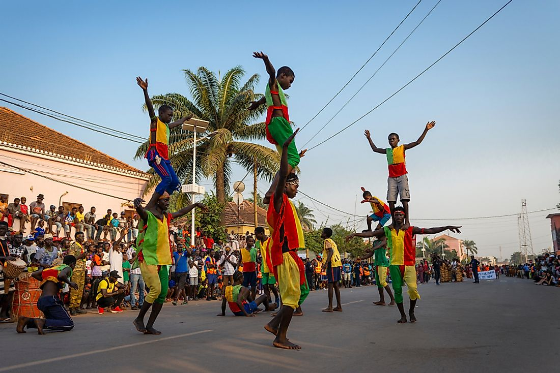 Carnival celebrations in Guinea-Bissau. Editorial credit: Peek Creative Collective / Shutterstock.com.