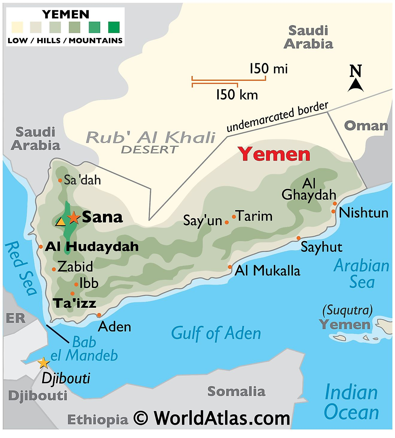 The Physical Map of Yemen displaying state boundaries, relief, islands, highest point, important cities, etc.