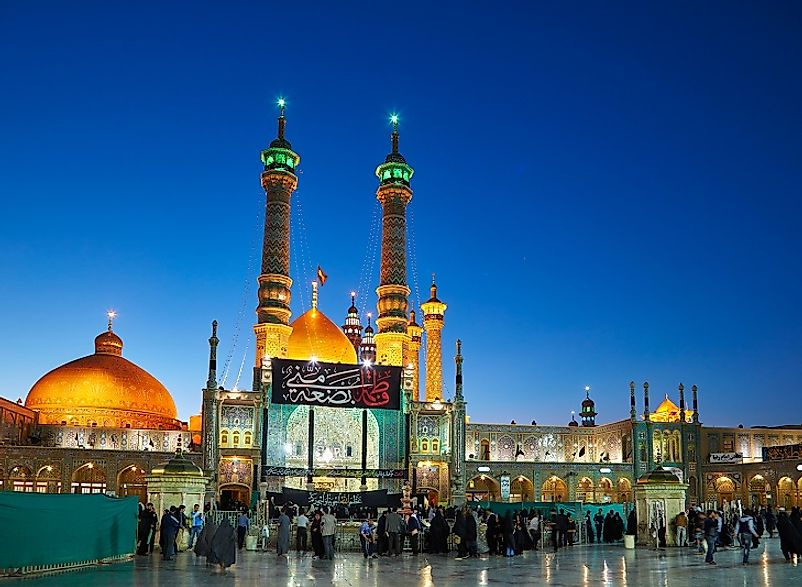 The Fatima Masumeh Shrine in Qom, Iran is one of the holiest sites for Shia Muslims in the country.
