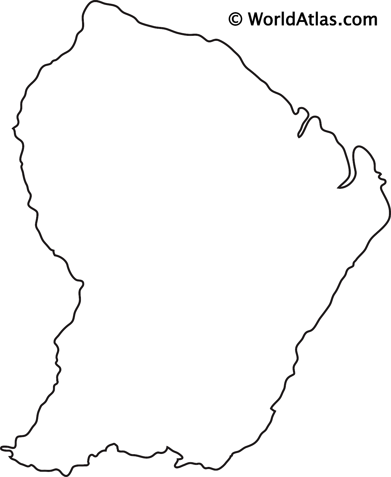 Blank Outline Map of French Guiana