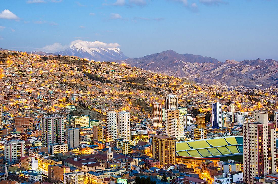La Paz, Bolivia, seen here at dusk, has a higher altitude than any other capital city in the world.