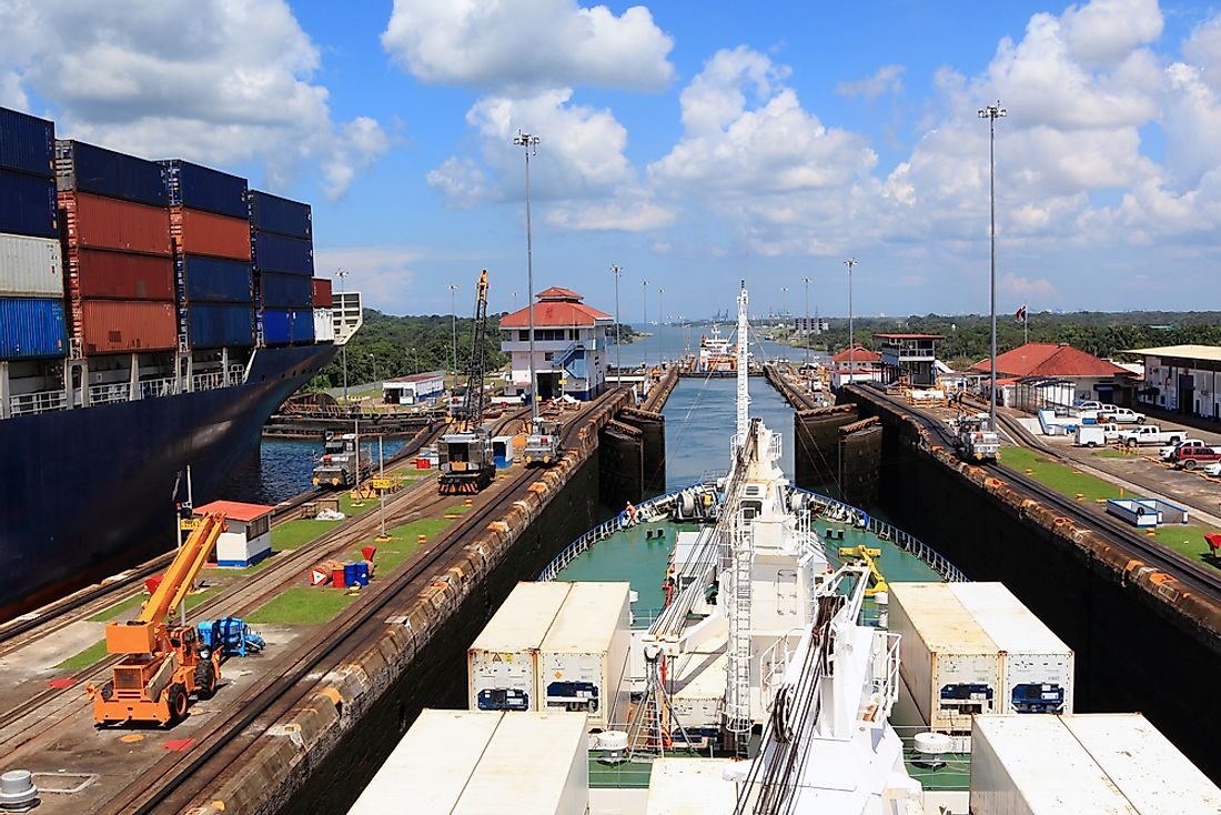 Ships in the Panama Canal, Panama.