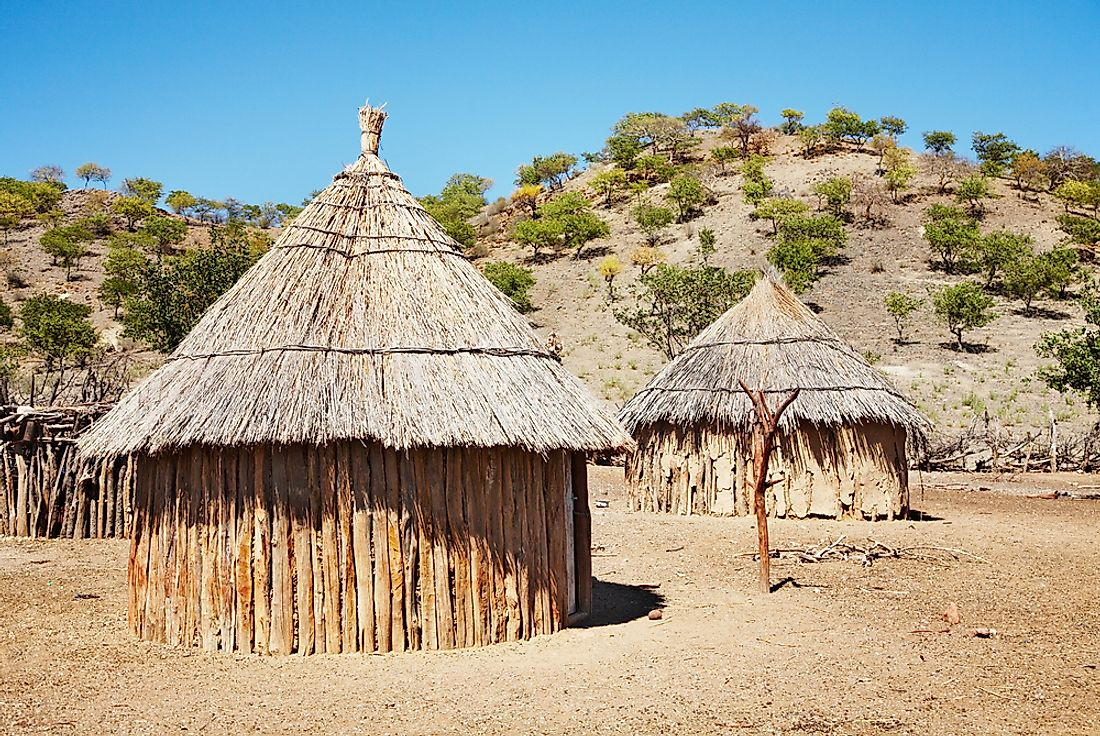 Traditional huts of the Himba people in Namibia.