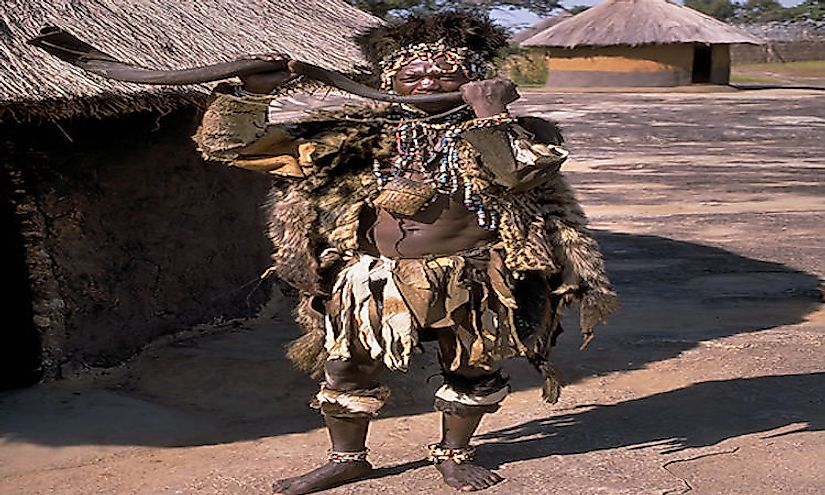 Witch doctor of the Shona people in Zimbabwe. The Shona people speak the Shona language in the country.