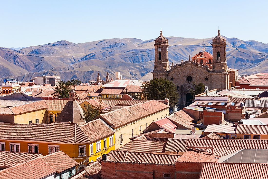 An aerial view of Potosi, Bolivia.