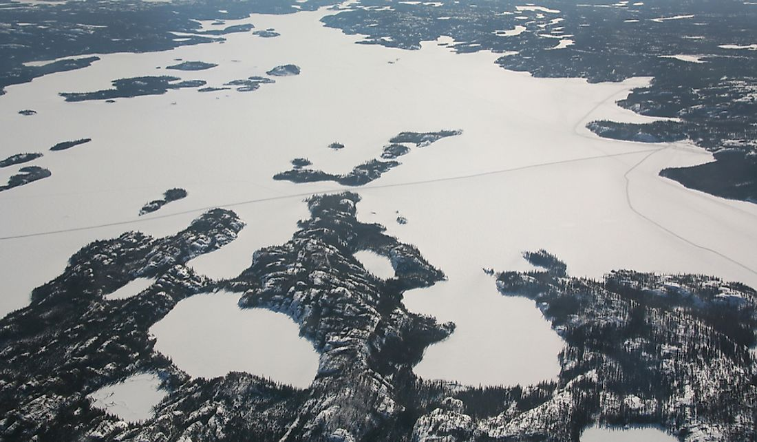 Aerial view of Great Slave Lake in the Northwest Territories.