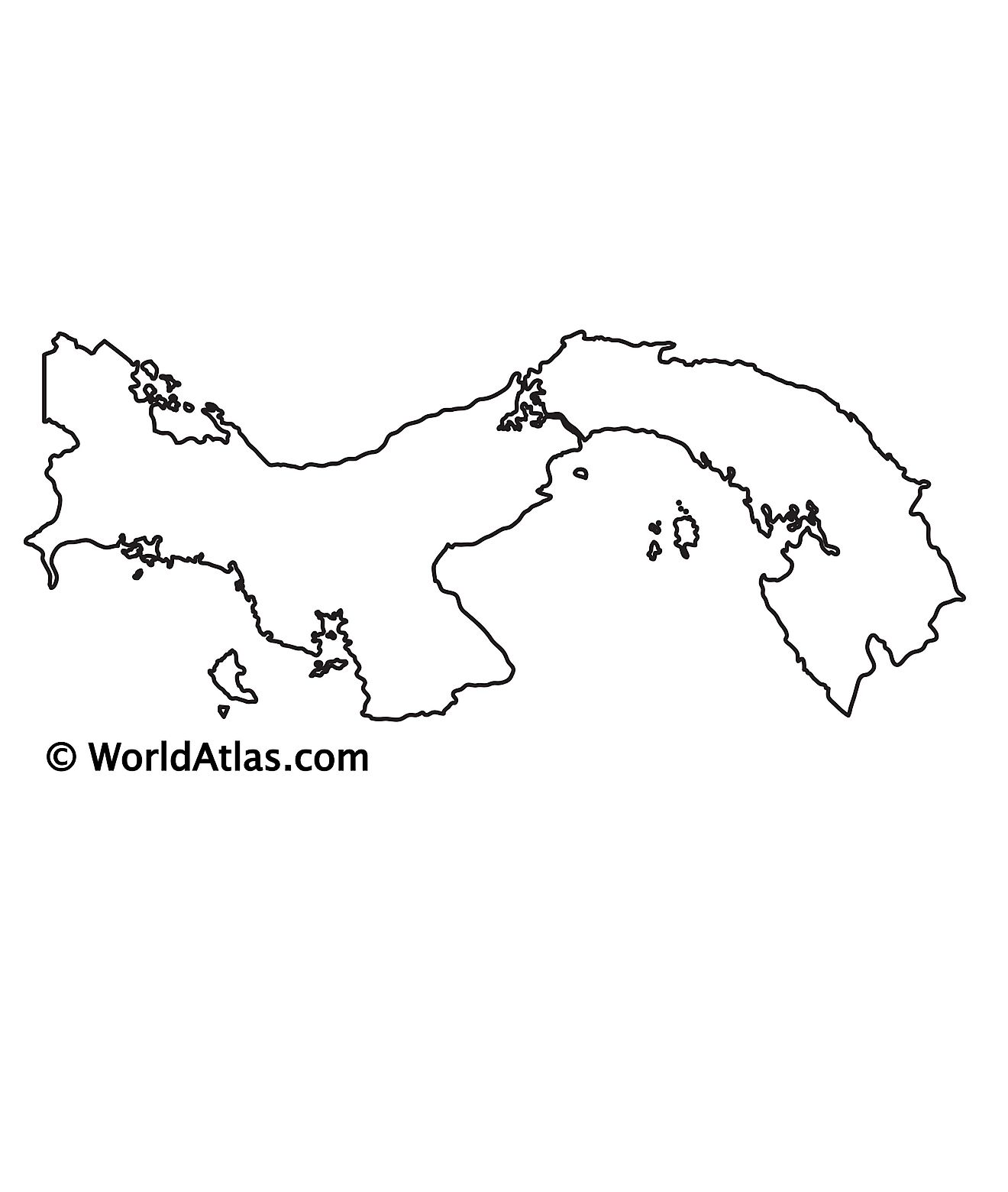 Blank Outline Map of Panama