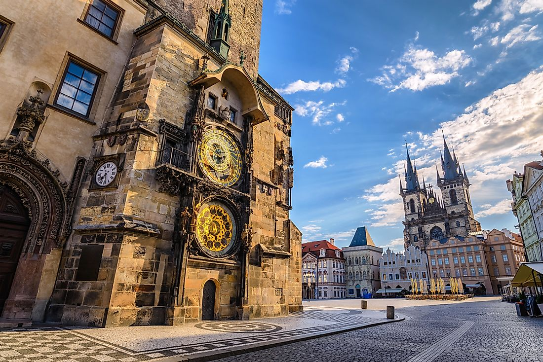Prague's old town and famous old clock.