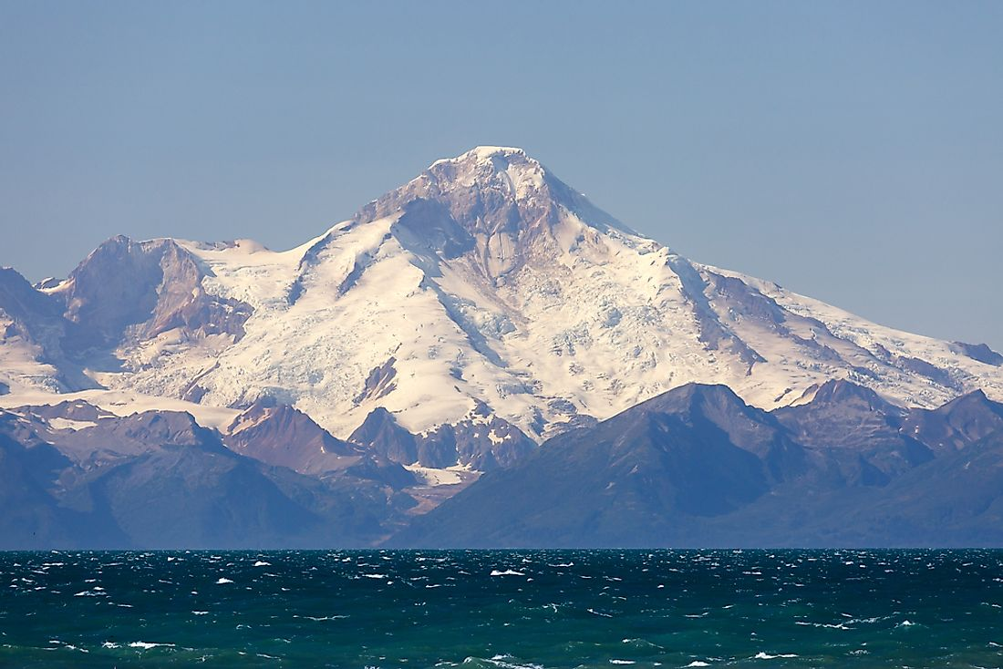Mount Redoubt is the highest summit of the Aleutian Range.