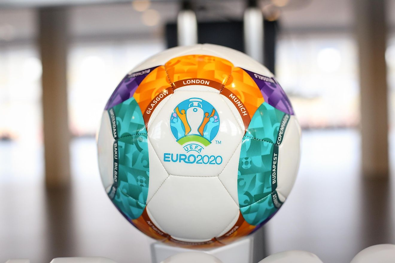 The 2020 UEFA European Football Championship (UEFA Euro 2020) logo and official ball. Editorial credit: Mircea Moira / Shutterstock.com.