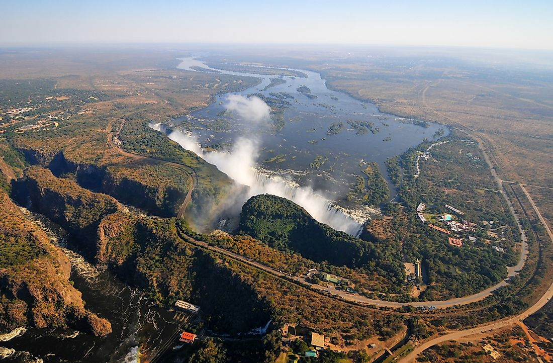 Victoria Falls is located on the border between Zambia and Zimbabwe.