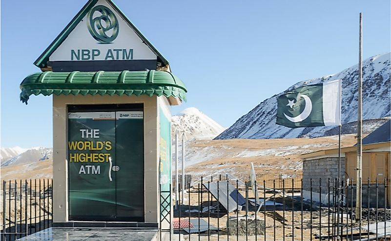 The world's highest ATM of National Bank of Pakistan at the Pak-China border. Editorial credit: Sulo Letta / Shutterstock.com