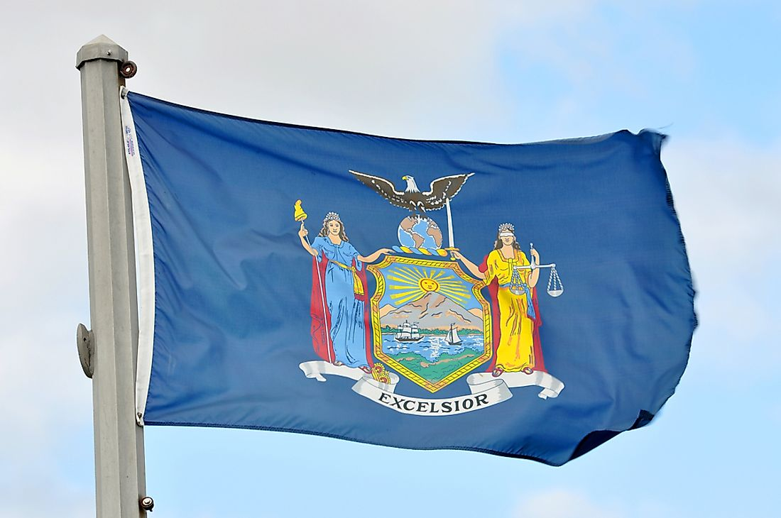 The New York state flag features the New York state seal, designed in 1788.