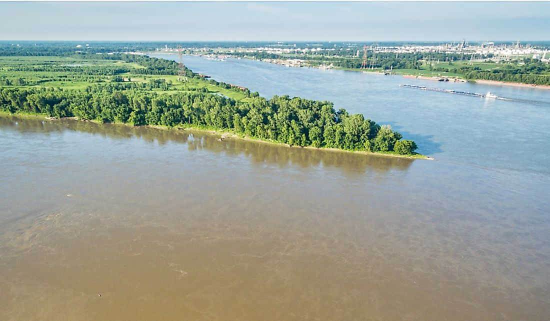 The confluence of the Missouri River and the Mississippi River in St. Louis, Missouri.