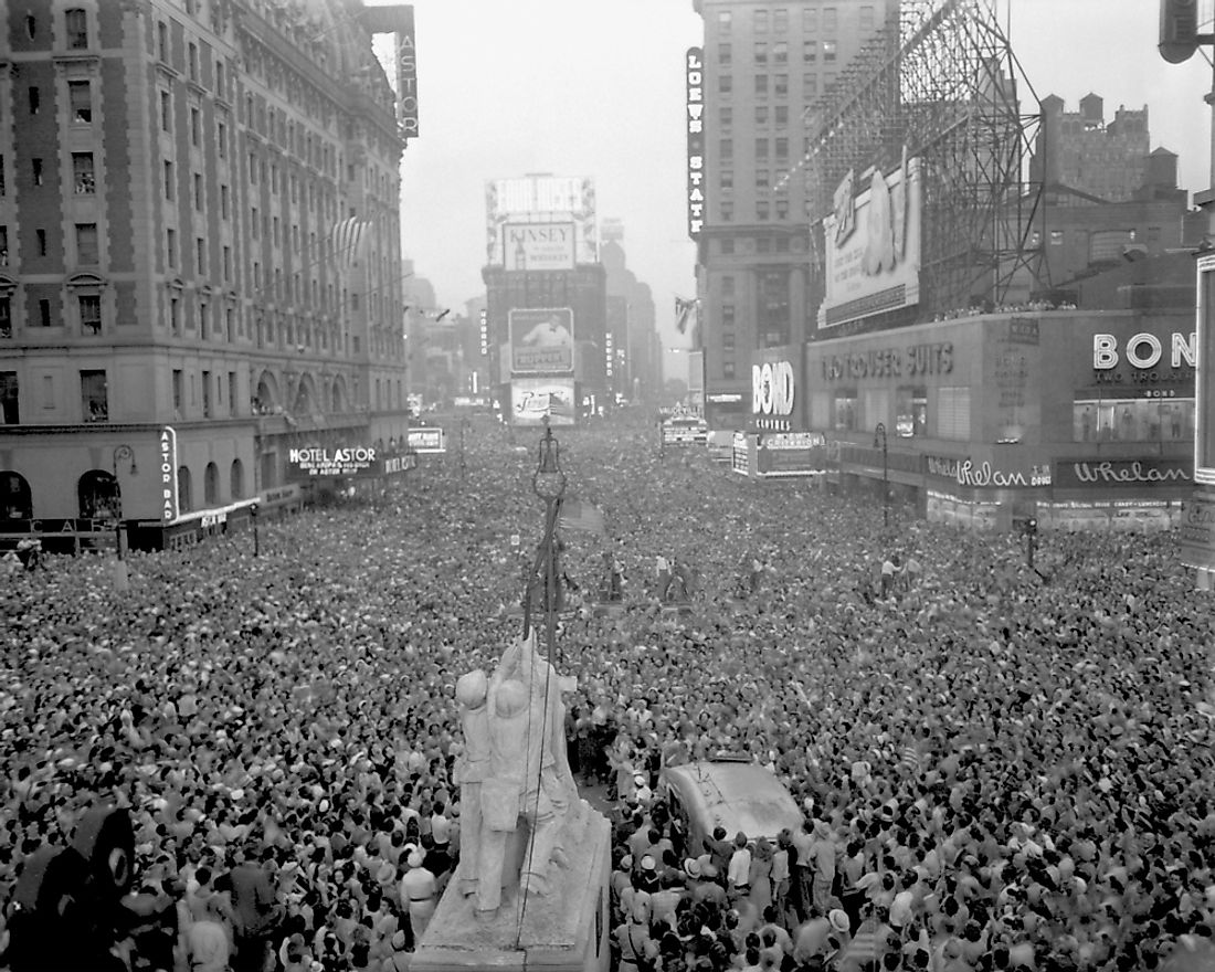 The surrender of Japan, signalling the end of WW2, is celebrated in New York's Time Square on August 15, 1945.