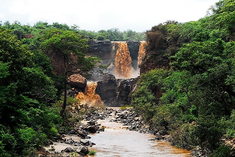 A waterfall on the Awash River laden with mud after a storm in central Ethiopia's Oromia Region.