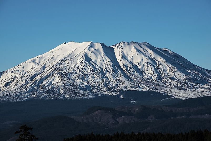 Mount Saint Helens in the U.S. state of Washington is one of the most famous active volcanoes in the Pacific Ring of Fire.