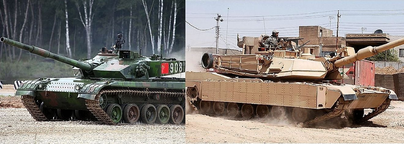 Left: A Chinese Type 96 (ZTZ-96A) main battle tank. Right: A U.S. M1A2 Abrams main battle tank.
