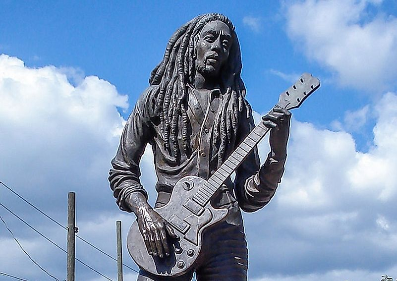 A monument dedicated to Bob Marley, one of the most well-known Reggae artists of all time, in Kingston, Jamaica.
